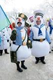 Wettbewerb des neuen Jahres von Schneemännern. Stockfoto