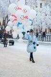 Wettbewerb des neuen Jahres von Schneemännern. Lizenzfreies Stockbild