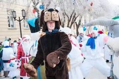 Wettbewerb des neuen Jahres von Schneemännern. Lizenzfreies Stockfoto
