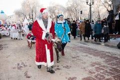 Wettbewerb des neuen Jahres von Schneemännern… Stockfotografie