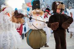 Wettbewerb des neuen Jahres von Schneemännern… Stockfotos