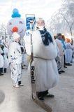 Wettbewerb des neuen Jahres von Schneemännern… Lizenzfreie Stockfotografie