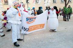 Wettbewerb des neuen Jahres von Schneemännern… Lizenzfreies Stockfoto