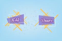 Wettbewerb- und Siegerkarte mit dekorativem Hintergrund Auch im corel abgehobenen Betrag lizenzfreie abbildung