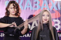 Wettbewerb von Nagelstilisten in Kasachstan astana 10. November 2017 Stockbilder