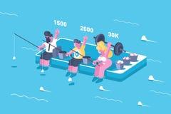 Wettbewerbe in der Anzahl der Gleichen in den sozialen Netzwerken Stockbild