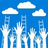 Wettbewerbskonzept, weiße Wolken auf blauem Himmel mit Leitern und h lizenzfreie abbildung