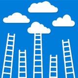 Wettbewerbskonzept, Wolken mit Leitern, Vektor illustrat auf Lager stock abbildung