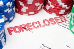 Wetten Sie die Haus-Schürhaken-Chips auf ausgeschlossener Hypothek Stockfoto