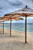 Wetter auf dem Strand Stockbild