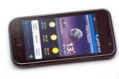 Wetter auf Handy Lizenzfreies Stockbild