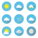 Wetter-flache Design-Ikonen Stockfotografie