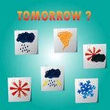 Wetter forcast Ikone auf Briefpapier Stockbild