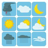 Wetter-Ikonen Lizenzfreies Stockbild