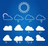 Wetter-Ikonen auf Plan Stockfotos