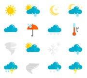 Wetter-Ikonen-Ebenen-Satz Stockbild