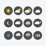 Wetter-Ikonen-einfache Ebene Stockbilder