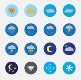 Wetter-Ikonen-gesetzte Farbe Lizenzfreie Stockbilder