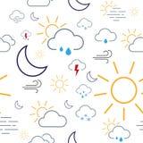 Wetter-Ikonen-nahtlose Muster-Fliese Lizenzfreie Stockfotos
