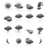 Wetter-Ikonen-Schattenbild-Serie Stockbilder
