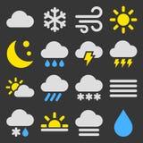 Wetter-Ikonen stellten auf schwarzen Hintergrund ein Vektor lizenzfreies stockbild