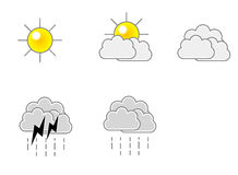 Wetter-Ikonen-vektorformat Stockfoto