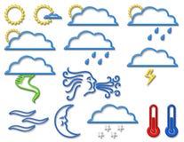 Wetter-Symbol-Ansammlung im Neon Stockbild