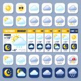 Wetter Widget und glatte Ikonen Lizenzfreies Stockbild