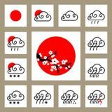 Wetter Widget und glatte Ikonen Lizenzfreie Stockbilder