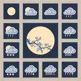 Wetter Widget und glatte Ikonen lizenzfreies stockfoto