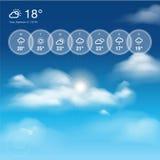 Wetter Widgetschablone und Himmelthemahintergrund Lizenzfreie Stockbilder