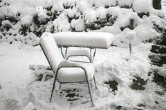 Wetterabweichung Schnee im Mai Lizenzfreies Stockbild