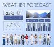 Wetterbedingungs-Nachrichtenreport-Klima-Voraussagen-Meteorologie Te Lizenzfreie Stockbilder