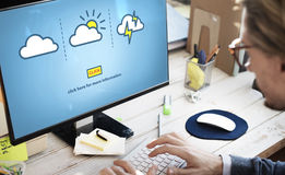Wetterbericht prognostizierte bewölktes klares böig Konzept Lizenzfreies Stockfoto