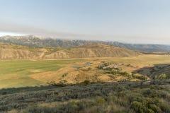 Wetterfront großartiges Tetons des frühen Morgens von der Frühlings-Nebenfluss-Ranch Jackson Wyoming stockfotografie