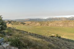 Wetterfront großartiges Tetons des frühen Morgens von der Frühlings-Nebenfluss-Ranch Jackson Wyoming stockbild