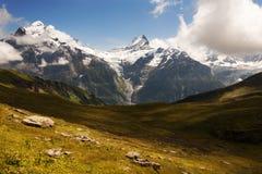 Wetterhorn和Schreckhorn在格林德瓦瑞士附近 免版税图库摄影