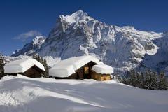 Wetterhorn в зиме стоковые изображения rf