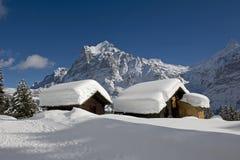 Wetterhorn en hiver Photographie stock libre de droits
