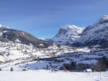 Wetterhorn And Grindelwald in Winter Royalty Free Stock Photo