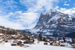 Wetterhorn of Grindelwald in Winter Stock Photography