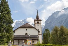 Wetterhorn Mountain and church in Jungfrau Alps Royalty Free Stock Image