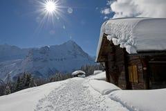 Wetterhorn nell'inverno Immagine Stock Libera da Diritti