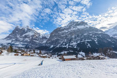Wetterhorn and Schreckhorn of Grindelwald in Winter. Swiss Alps, Switzerland Stock Image