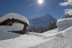 Wetterhorn in winter Stock Photography