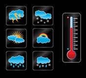 Wetterikone und -thermometer stock abbildung