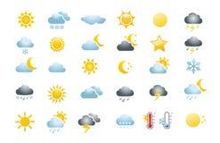 30 Wetterikonen Lizenzfreie Stockbilder