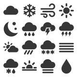 Wetterikonen eingestellt auf weißen Hintergrund Vektor lizenzfreie stockfotos