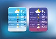 Wetterikonen für das smartphone. Stockfotografie