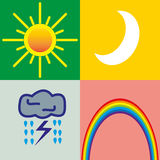 4 Wetterikonen - Sonne, Mond, Sturm, Regenbogen Stockfoto
